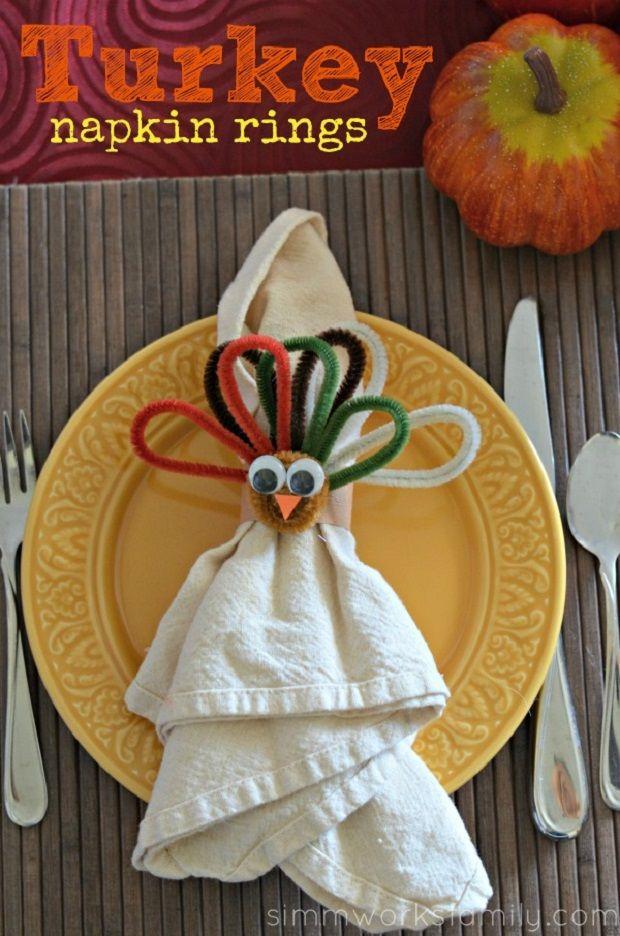 Kids crafts turkey napkin rings for thanksgiving for Turkey napkins