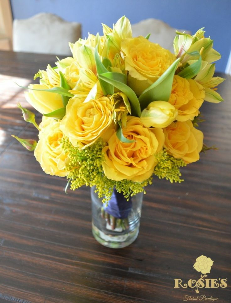 Monochromatic yellow bridesmaid bouquet including roses ...