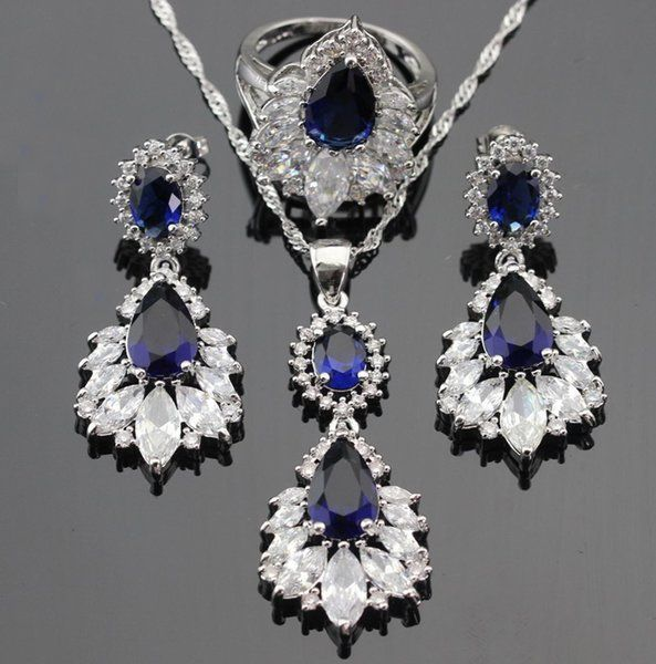 Sapphire Blue Stones White CZ 925 Sterling Silver Jewelry Sets For Women Drop Earrings Necklace Pendant Rings with Free Gift Box