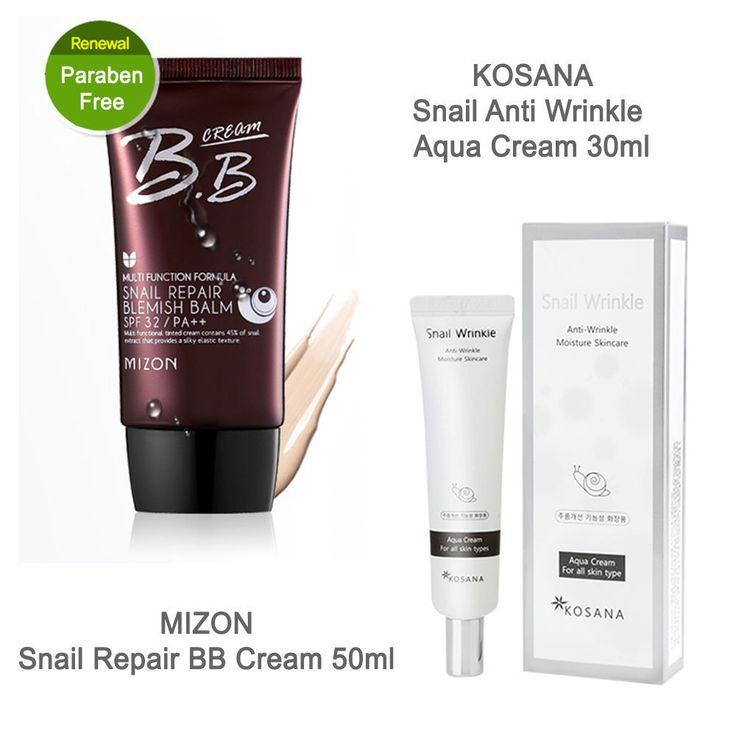 Mizon Snail Repair BB cream SPF32/PA++ 50ml+Kosana Snail Wrinkle Aqua Cream 30ml #Benecos