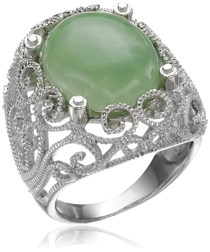 Sterling Silver Jade Green Lace Ring, Size 8. Due to the natural properties and composition of mined gemstones, pieces may vary slightly in size, shape, weight and color. Jade is dyed, impregnated, and bleached. Imported.