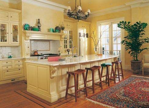 Pale Yellow Kitchen With White Counters