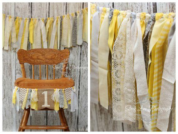 SET Yellow Grey Antique White Highchair 1st / First Birthday Fabric Strip Banner, Newborn Photography Banner, Rag Garland, Fabric Strips