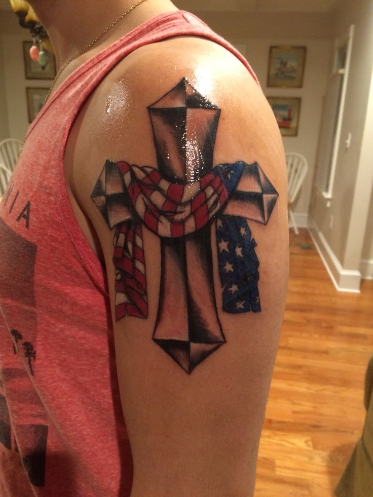 Tattoo Flag Cross