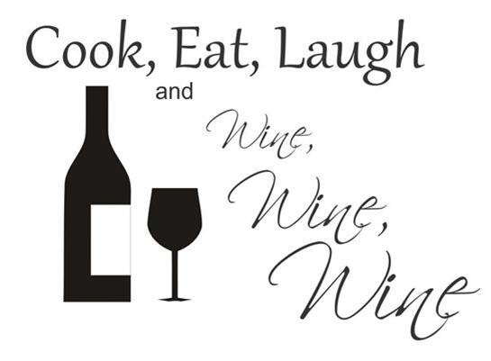 Cook Eat Laugh and Wine Wine Wine Vinyl Wall Art Stickers Home Decor   eBay