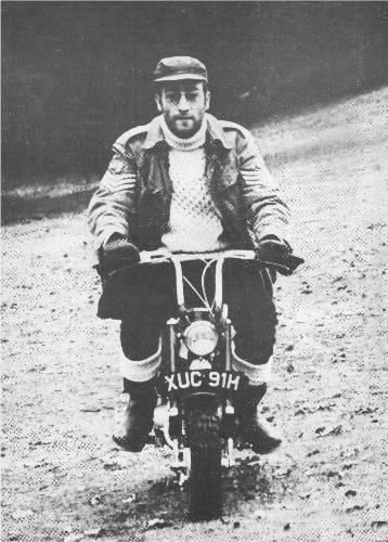 John on his monkey bike which has just been sold at auction.