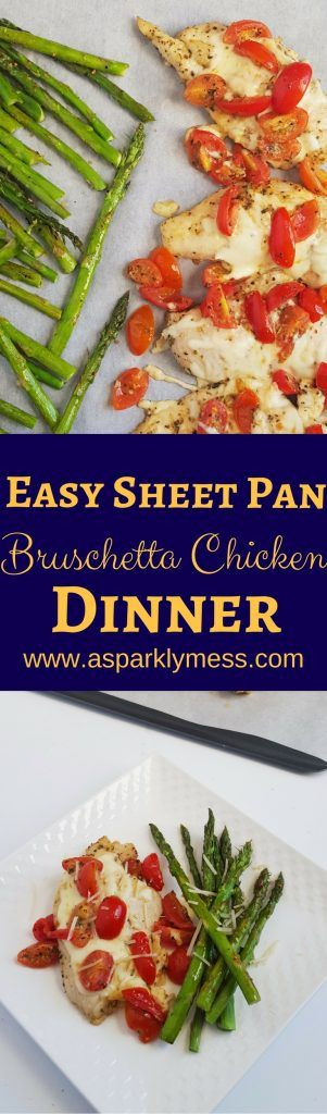 An awesome, healthy, Easy One Pan Bruschetta Chicken Recipe. Perfect for weekly meal prep or a great weeknight meal option. One pan recipes are so fast and clean up is minuscule.  Tender and delicious chicken, topped with a tangy bruschetta tomato mixture and creamy melted cheese make a great healthy meal that the whole family...