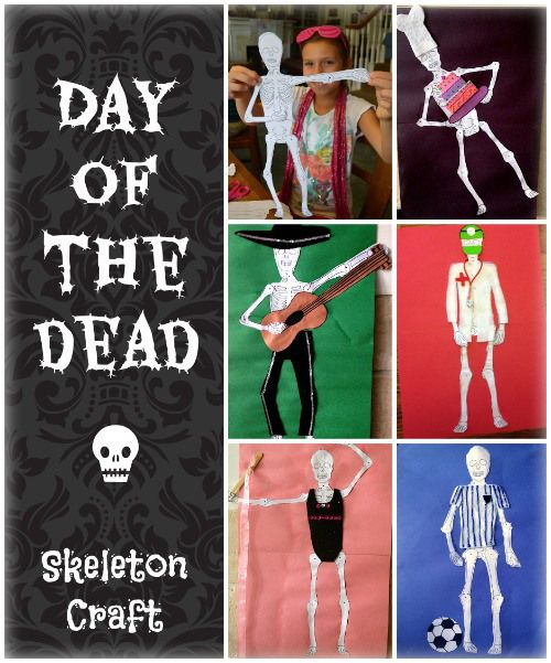 Skeleton craft for kids to make for day of the dead or for Day of the dead arts and crafts