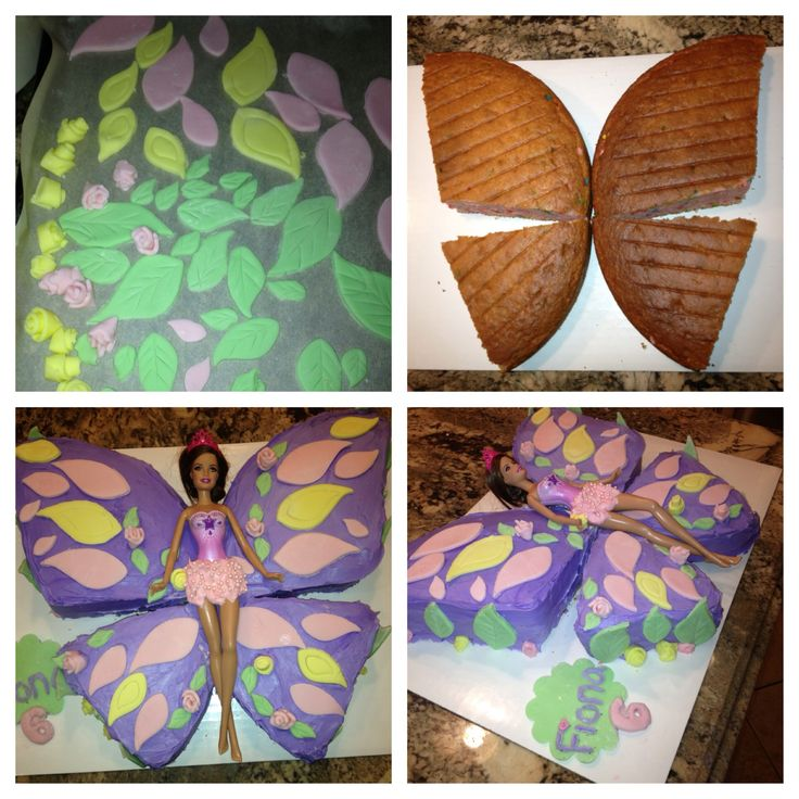 Barbie Butterfly Cake, made with buttercream frosting, fondant cut-outs, 12in cake.