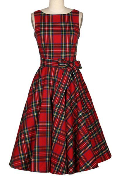 Vintage Jewel Neck Plaid Sleeveless Belted A-Line Dress For Women