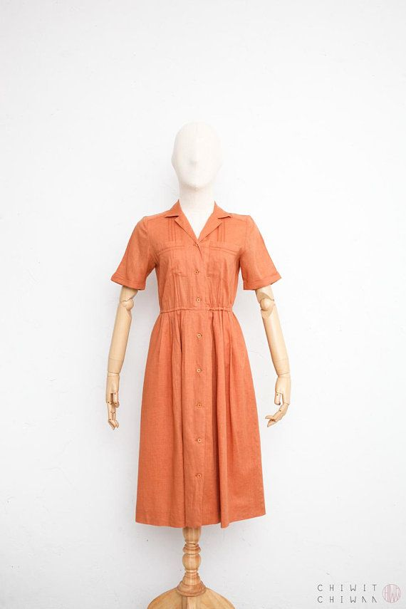 122c69fd13d Vintage 70s Dress Japanese Vintage Dress Burnt Orange