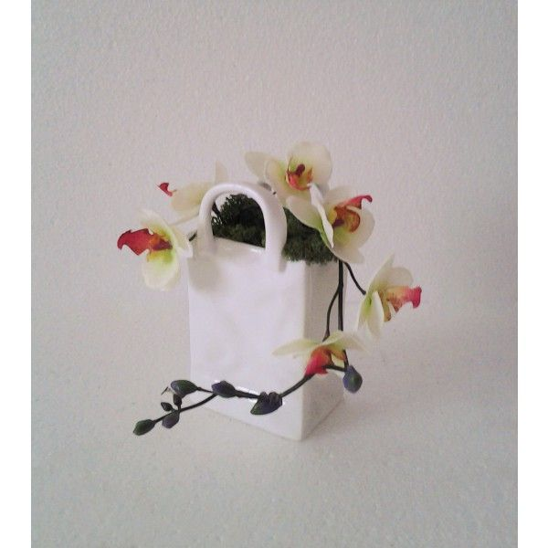 biela porcelánová kabelka s orchideou 12 x 15 x 5 cm