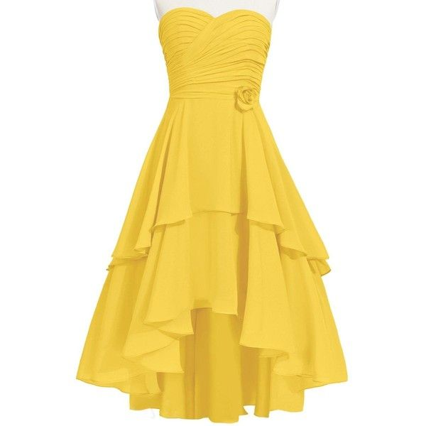 MittyDresses Women s Cute Sweetheart High-low Chiffon Party Bridesmaid... ($90) ❤ liked on Polyvore featuring dresses, belle, prom, rose, ruffle, prom dresses, bridesmaid dresses, cocktail party dress, yellow chiffon dress and high low bridesmaid dresses