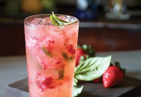 FRESH FRUIT CITRONADE : Absolut Citron vodka, strawberries, basil & lemonade with sprinkle of black pepper.