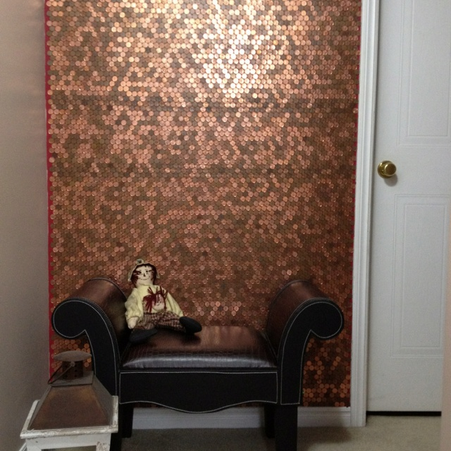 24 best images about penny wall on pinterest bathroom for How to make a penny wall