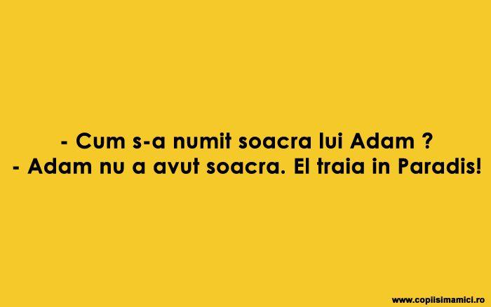Cum S-a Numit Soacra Lui Adam ? #banc #bancuri #bancuridecente #bancurihaioase #bancuritari #glume #adam #soacra