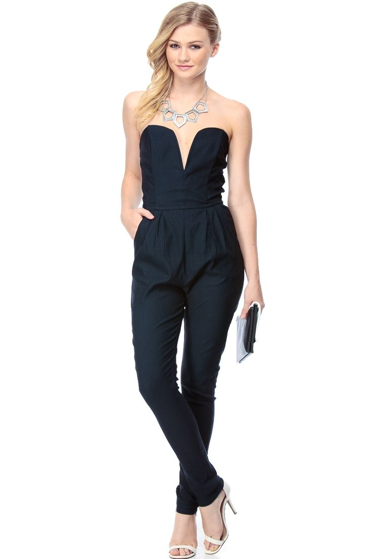 Navy queen plunging harem jumpsuit cicihot top shirt for Best dress shirts online