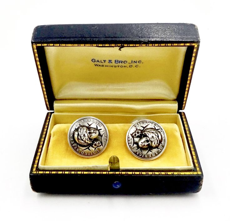 Antique 1904 BARBER DIME CUFFLINKS Sterling Silver 1904 3D Repousse Lady Liberty Silver Dime Cufflinks Pat. Aug. 11 1903 Malilet & Kepler