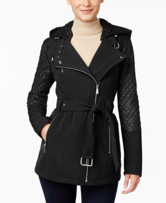 MICHAEL Michael Kors Petite Hooded Asymmetrical Trench Coat | macys.com
