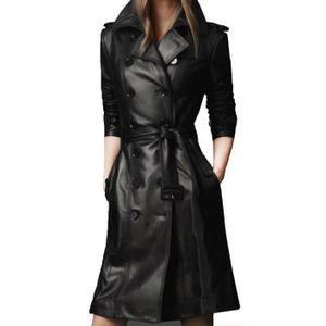 Manteau PU Cuir long Parka Vêtement Femme Hiver Noir Noir - Achat / Vente manteau - caban - Cdiscount