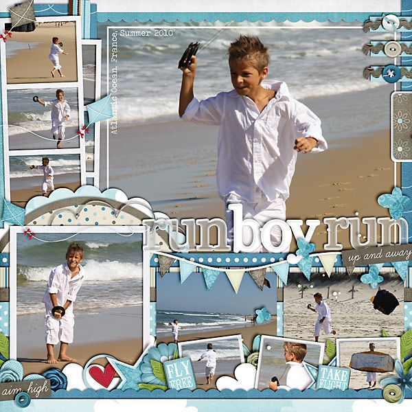 Beach Scrapbook Layout.  Love the balance of embellishments.  The photos are still the main feature.