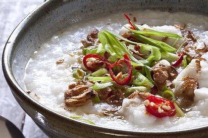 Frank Camorra's fish congee. Photo by Marina Oliphant. Recipe: http://www.smh.com.au/lifestyle/cuisine/seafood/recipe/fish-congee-20120917-261ay.html