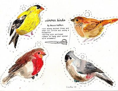 Winter Birds by www.beccakallem.com -- These are my holiday cards for 2010: various winter birds. You can print them out, cut them out, and string with ribbon for little paper ornaments. The species include the sparrow, chickadee, Carolina wren, purple finch, cardinal, and more. I wish I had done an owl, though!