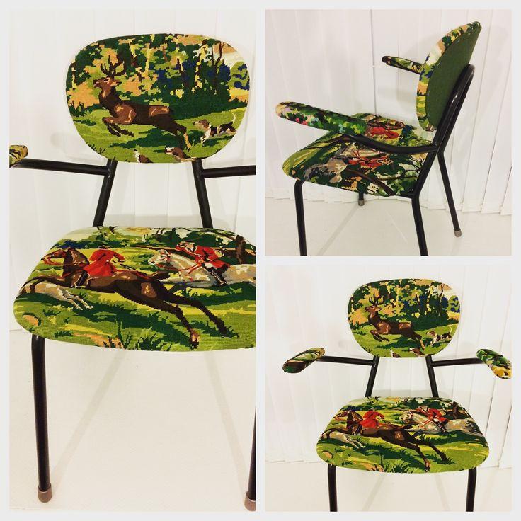 Remake. Stålrörsstol från 50-talet klädd med franskt vintagebroderi.