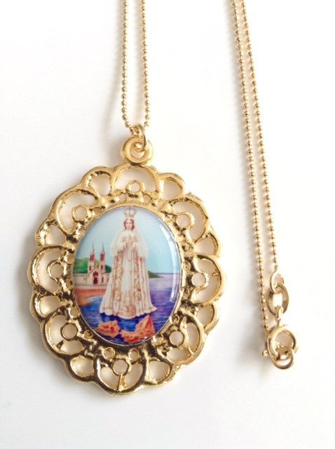 Virgin Mary Jewelry Gold Virgin of the Valley necklace Virgen del Valle Virgin Mary Pendant Necklace Catholic Jewelry Religious Medals