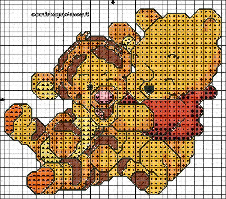 schema punto croce Baby winnie the pooh 40 punti circa