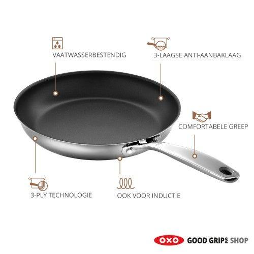 OXO Stainless Steel Pro Koekenpan 24 cm. Misschien wel de mooiste en beste koekenpannen die u ooit in uw bezit zult hebben.
