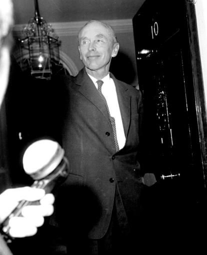 "Alec Douglas Home 18 Oct 1963    Lord Home who was invited by the Queen to form a new administration pictured at the door of Number 10 Downing Street. He said ""Her Majesty has asked me to form an administration, and so, now, for the rest of the afternoon I shall be seeing my colleagues and consulting them. I shall be here for the rest of the day hard at work. It has been a great honour to be asked to do this. I think I had better get on to work now."""