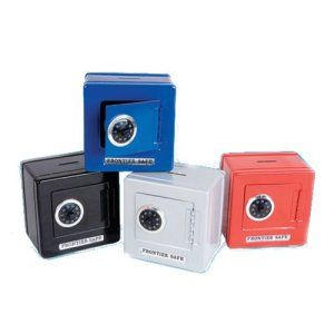 Cool Gadgets For Boys: Frontier Safe - Steel Safe with Combination Lock and Coin Slot (Blue,Black, Red, Purple)