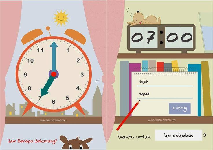 permainan & kerajinan anak, belajar membaca jam dinding/digital, mengenal waktu untuk TK-SD