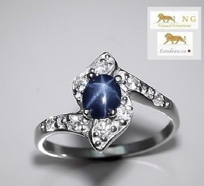 1.5 ct NATURAL BLUE STAR SAPPHIRE RING 7.5 - A