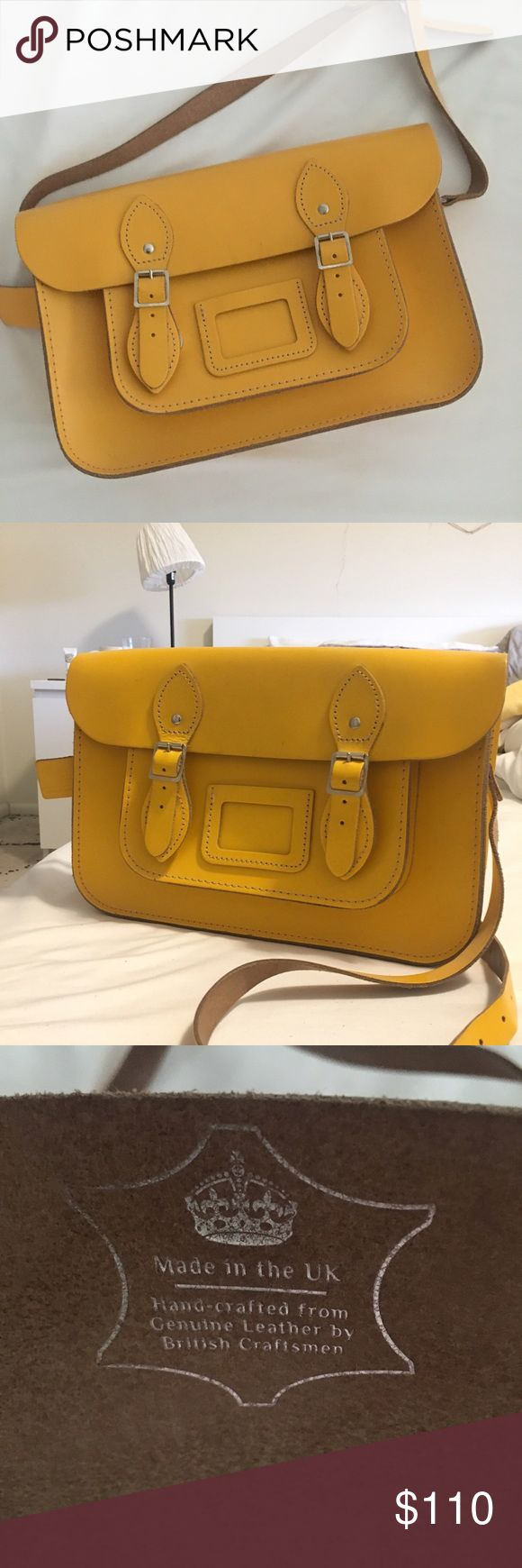 Classic 13 inch Cambridge satchel messenger bag In yellow. Very lightly used with no stains and very minor signs of wear The Cambridge Satchel Company Bags Satchels