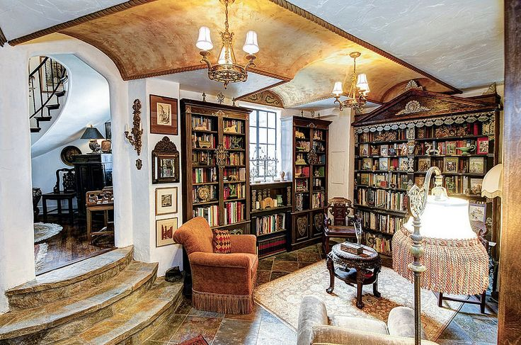Washington dc old world style interior home library castle for Old style homes built new
