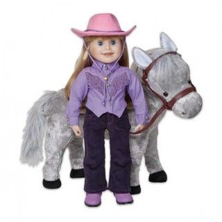 Wonderful Western Wear:Western wear has always been a part of Brianne's life. Her western-style shirt has hand-stitched shimmery beads along the fringed yoke, and silver buttons down the front. (Velcro under the buttons make dressing a breeze!) Her deep purple corduroy jeans are detailed with silver stitching and real grommets. The western boots are a miniature version of the real thing. She tops it all off with, of course, a pink Stetson.