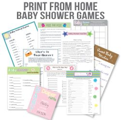 A baby shower ebook filled with popular, low-cost ideas and free printables!