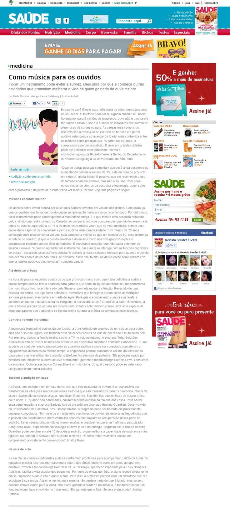 BioSom na revista #saúde da #editora #Abril