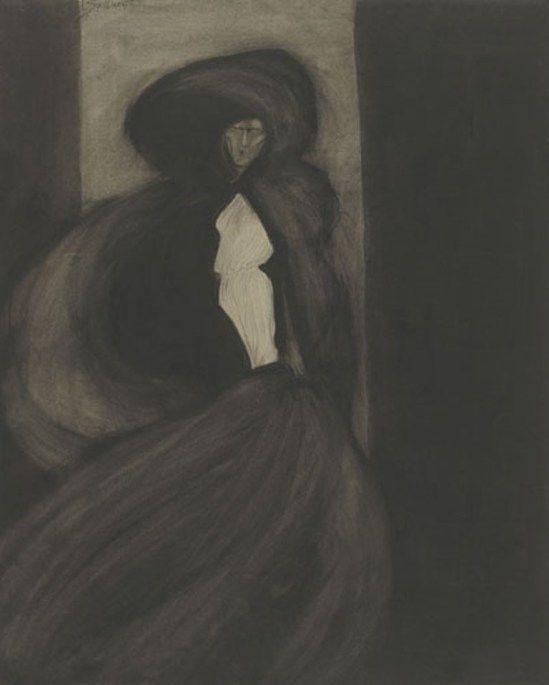 Léon Spilliaert. Le vent 1902. Encre, pastel et crayon sur papier