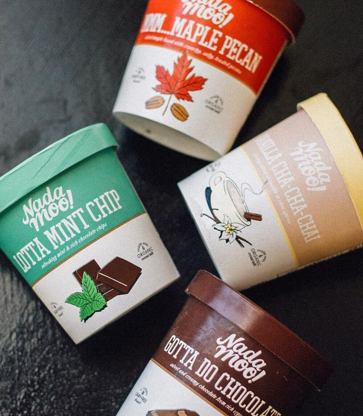 Vegan Ice Cream -- Made with organic coconut milk. Maple Pecan, Mint Chip, Vanilla Chai, and Chocolate.
