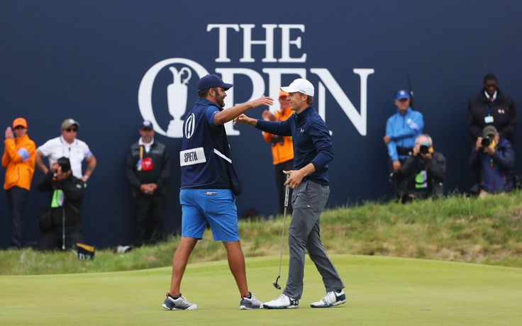SOUTHPORT, ENGLAND - JULY 23:  Jordan Spieth of the United States embraces his caddie Michael Greller after victory on the 18th green during the final round of the 146th Open Championship at Royal Birkdale on July 23, 2017 in Southport, England.  (Photo by Christian Petersen/Getty Images) via @AOL_Lifestyle Read more: https://www.aol.com/article/news/2017/07/23/american-spieth-emerges-from-epic-duel-to-win-british-open/23044036/?a_dgi=aolshare_pinterest#fullscreen