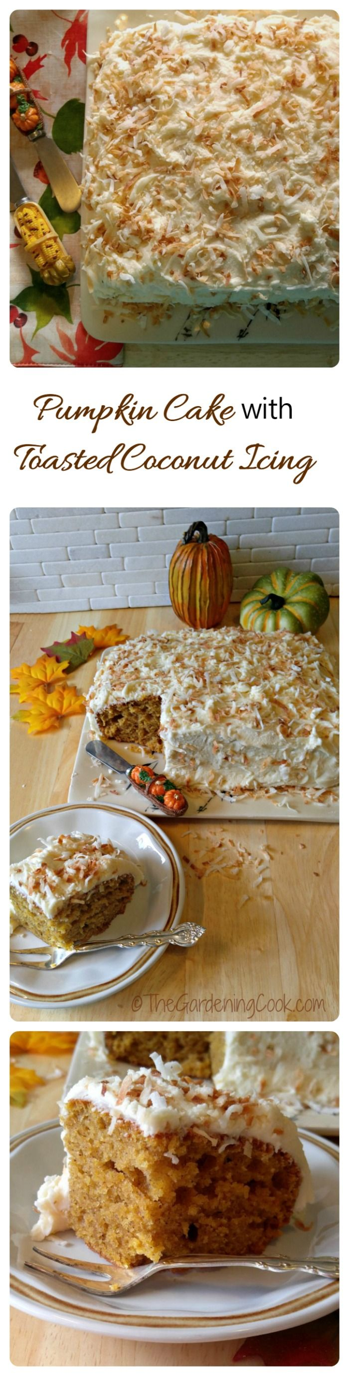 This pumpkin cake will be the hit of your Thanksgiving or Christmas celebration. It is moist and light and full of the flavor of autumn. The crunchy toasted coconut frosting adds a delicious touch. #BobsHolidayCheer #ad @bobsredmill