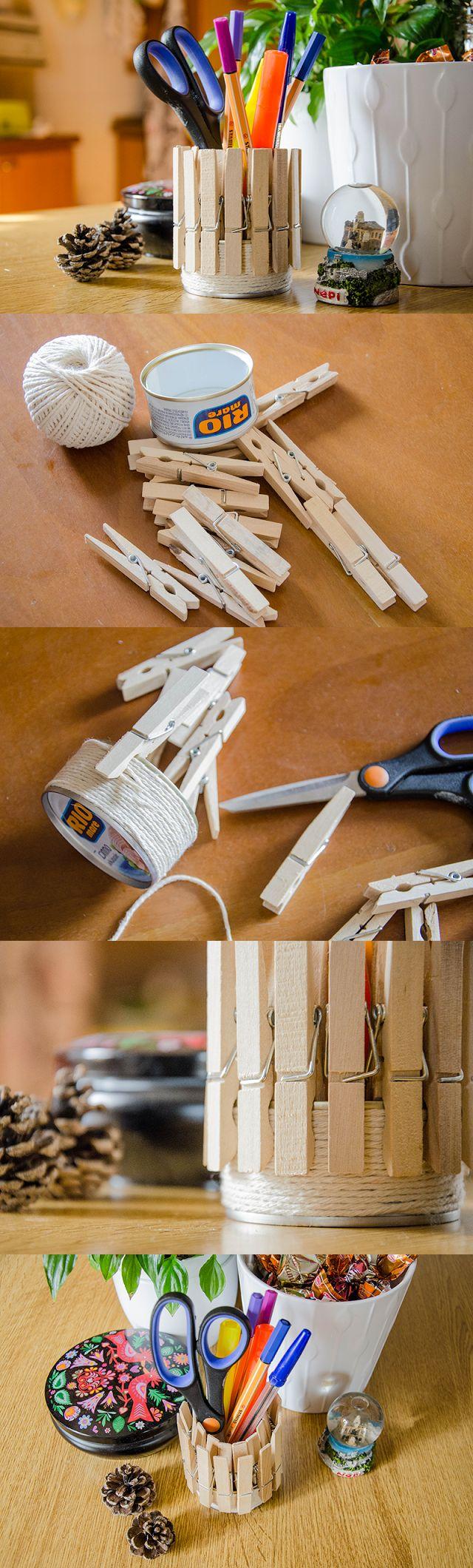 Penholder with cane of tuna and clothespins - DIY | Portapenne con scatoletta di tonno e mollette.
