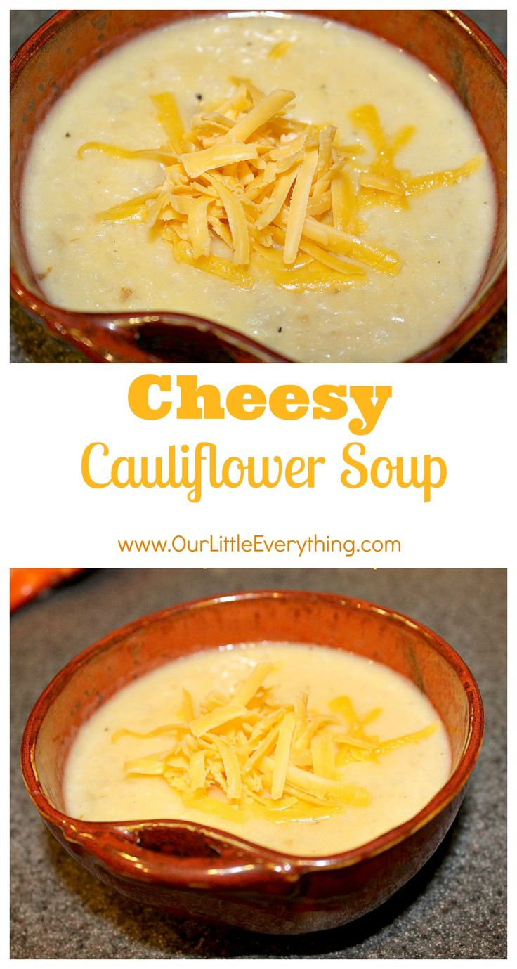 Cheesy Cauliflower Soup - a tasty cheesy go-to alternative to potato soup!  This was such an easy recipe to make and a really delicious low carb soup!  Perfect for this time of year!  | www.OurLittleEverything.com