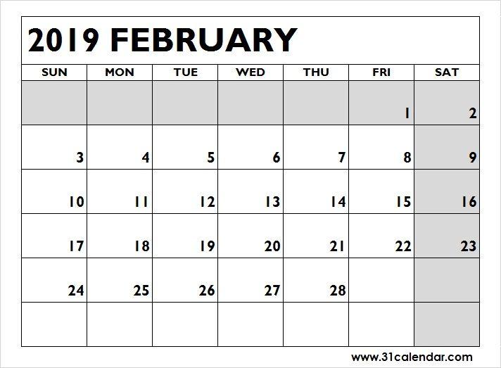 Blank Printable Calendar 2019 February Editable 31 Calendar