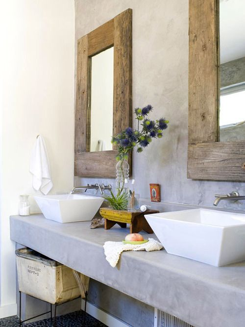 Rustic contemporary, love the square sinks, wood framed mirrors, bathroom design, bathroom ideas, bathroom remodel