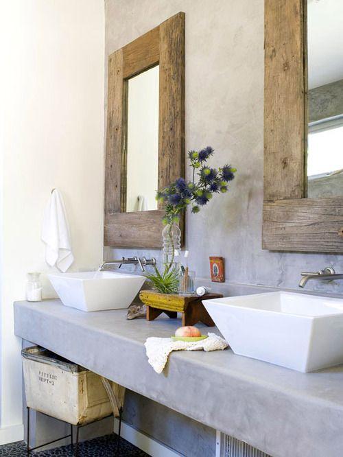 Rustic contemporary, love the square sinks, wood framed mirrors, bathroom design, bathroom ideas, bathroom remodel