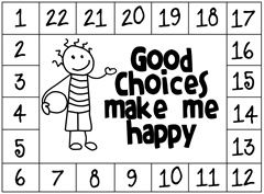 Punch Card-Good Choices Make Me Happy - punch as students make positive choices and allow them to redeem the card when it's full for a pre-determined prize. Be sure that you award immediately upon completion of card. You may need to begin with rewarding for every 4 stars or so and build it higher as the student has more success.